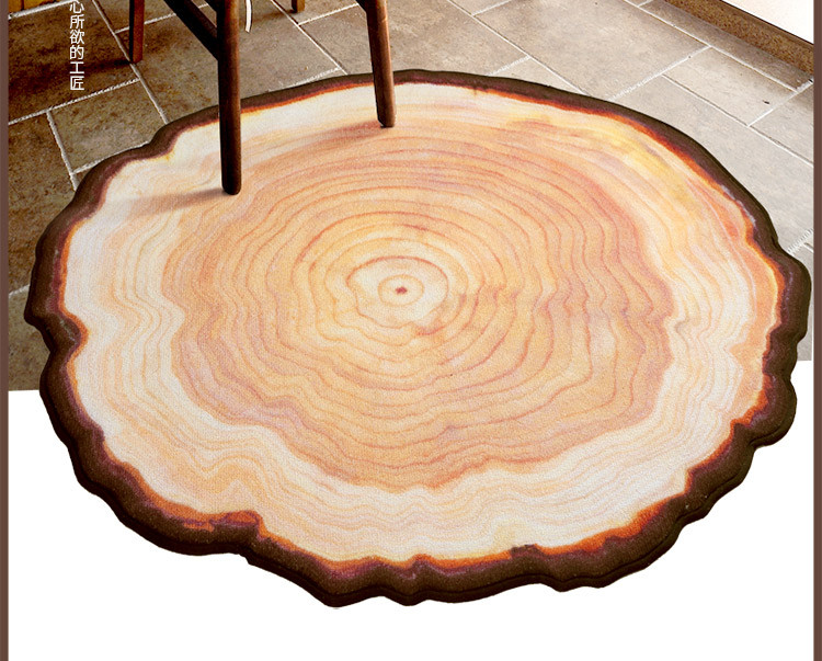 Antique Wood Tree Annual Ring Round Environmental Carpet