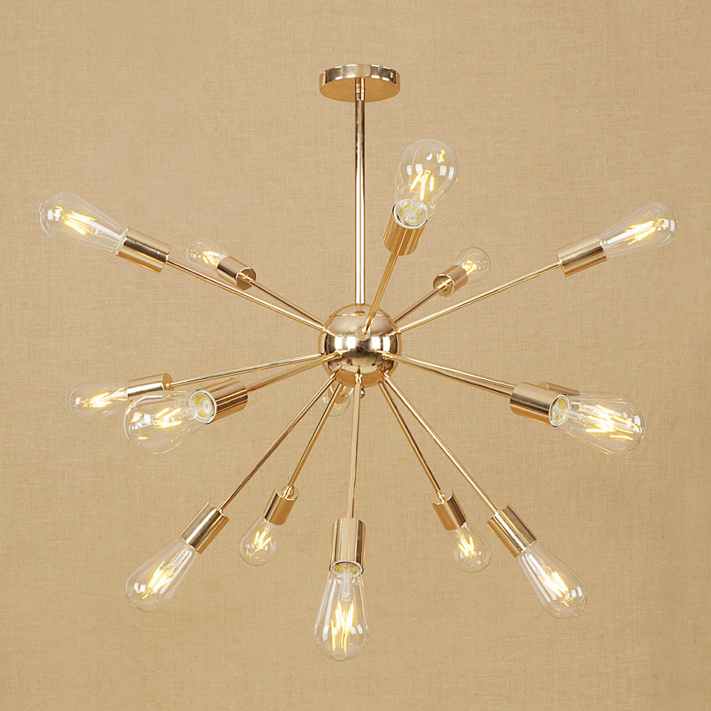 Industrial Iron Multi-heads Chandelier Fashion Golden Chrome Vintage Living Room Bedroom Dining Room Decor E27 Pole Chain Lamp With The Best Service Ceiling Lights & Fans Lights & Lighting