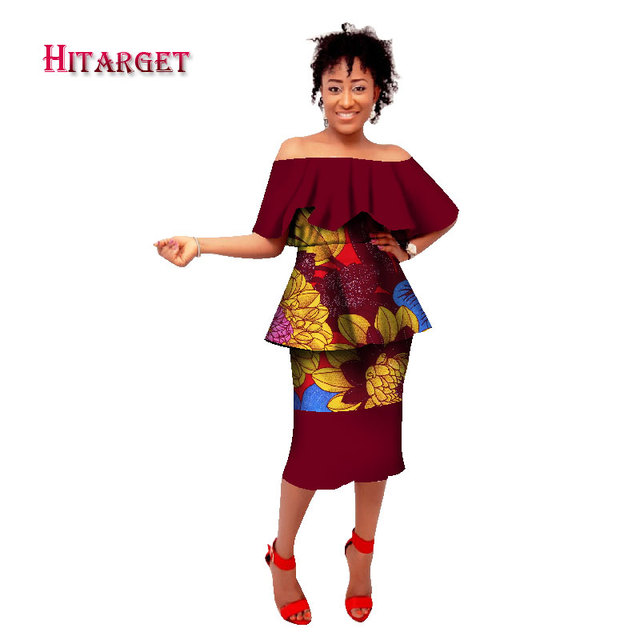 2018 summer atumn African dresses for women ankara dashiki wax batik  printing suit 100% cotton 61a5a334cdc7