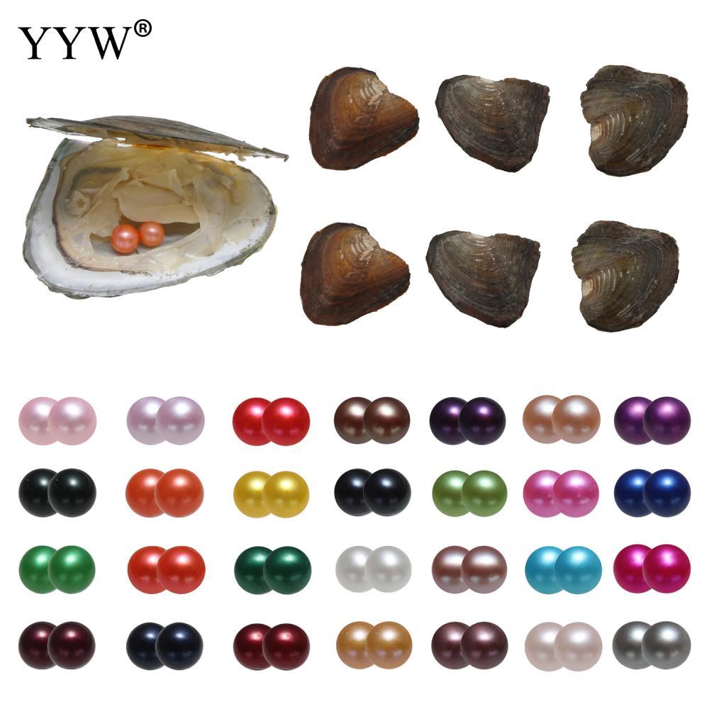 AAA 7-8 mm jumeaux Freshwater Oyster Ronde Perle Mixte Couleur Cadeau À faire soi-même en Gros HOT