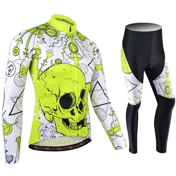 Original BXIO Brand Winter Bicycle Jersey Set Skull Fluorescent Yellow Keep Warm Cycling Clothing Ropa Ciclismo Hombre BX-186