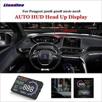 Liandlee Full Function HUD Car Head Up Display For Peugeot 3008 4008 2016 2018 Safe Driving Screen OBD Data Projector Windshield