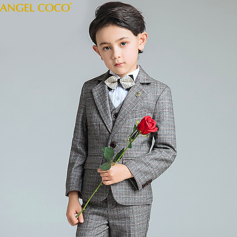 2018 New Fashion Gray/Blue Baby Boys Suit Kids Blazers Boy Suit For Weddings Prom Formal Spring Autumn Wedding Dress Boy Suits цены онлайн