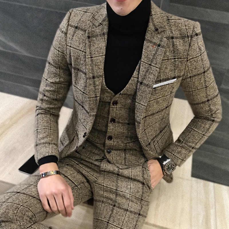 3ピースツイードスーツ男性チェック柄ブレザー4xl 5xlカーキグレーブルーブラック新郎ウェディングドレススーツ衣装オムternosスリムフィット