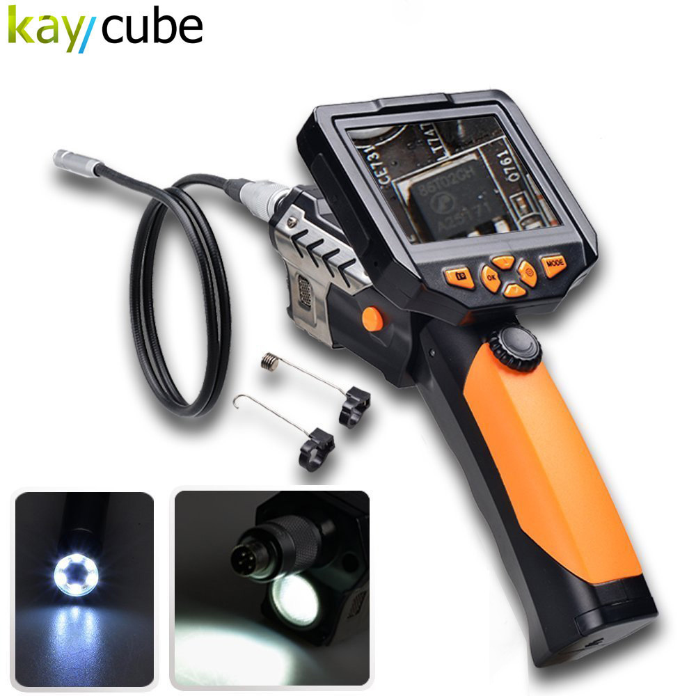 Kaycube HD Handheld 8.2mm 1M Flex Endoscope Camera 3.5 LCD Monitor LED Flashlight Waterproof Tube Borescope Handle Adjust diameter 17mm camera head with flexible tube for av handheld endoscope