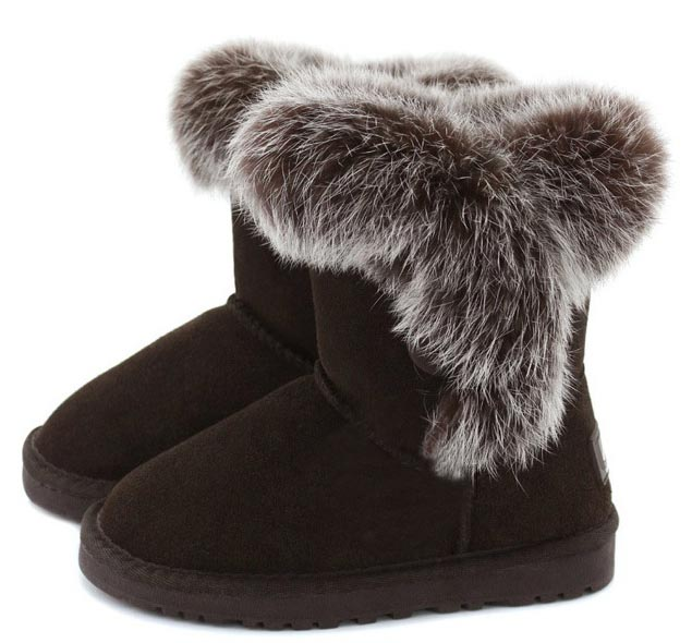 Hot sell 2016 Children fur snow boots boys girls rabbit fur genuine leather snow boots children tendon end boots 5 colour 26-35