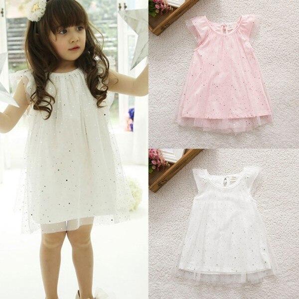 Baby Kid Girls Sleeveless One Piece Gauze Sequins Dress Party Tutu Dress S01