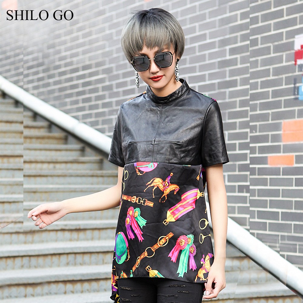 SHILO GO Leather Blouse Womens Summer Fashion sheepskin genuine leather Blouse Stand collar short sleeve spliced print straight