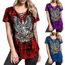2019 Summer Women's New Tie Dye Wing Print Bandage Short Sleeve T-Shirt womens shirts
