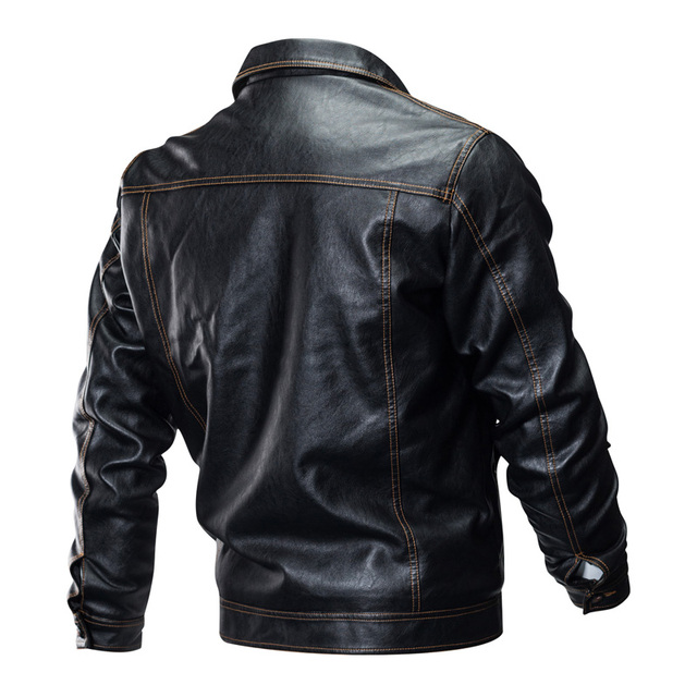 LetsKeep Short faux leather jacket men Motorcycle Leather Jackets Retro Coat Autumn Mens Turn down collar Waterproof Coat, MA507