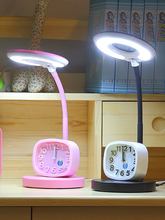 Cartoon alarm clock led desk lamp cute lovely eye protection children study reading lamp adjustable dimming led table lamp for g