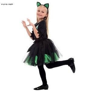 Image 4 - Kızlar cadılar bayramı Kitty kostüm çocuk çocuk kedi catwoman hayvan Cosplay karnaval Purim Masquerade sahne oyun parti elbise