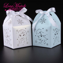50pcs Elsa Anna Princess Freezing Laser Cut Gift Box Birthday Party Decorations Kids Party Supplies Baby Shower Party Favor Box