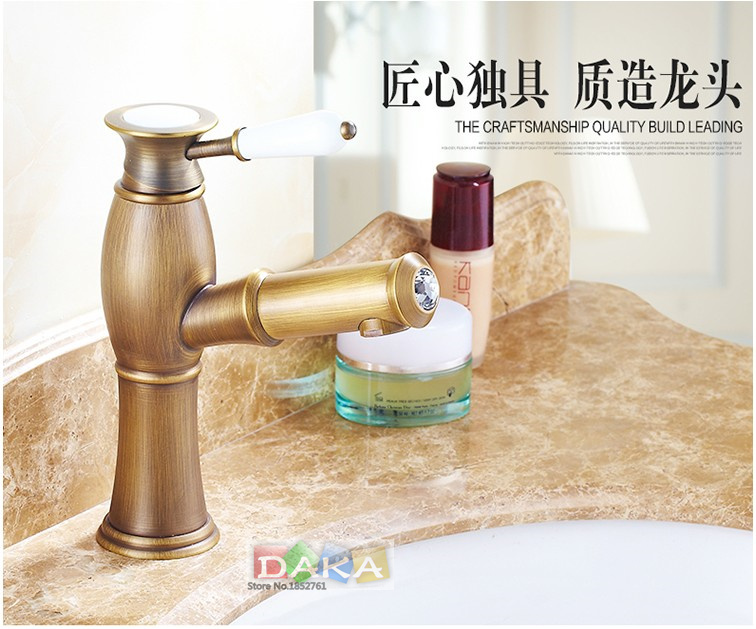 Modern Art Design Antique Brass Bathroom Basin Faucet/ Deck Mounted hot and cold Water taps/ Fashion wash basin Sink Tap