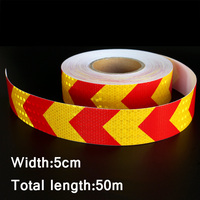50mx5cm Red&Orange Arrow Reflective Strips Glue Stickers For Car Styling Motorcycle Automobiles Decoration Safety Warning Tape