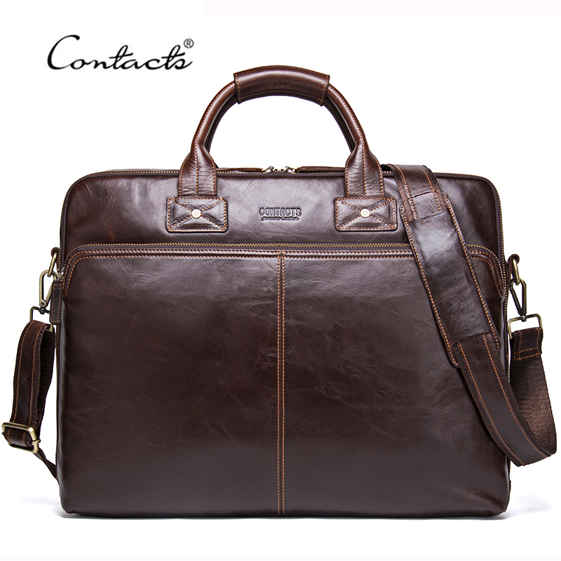 CONTACT'S 2020 Genuine Leather Men's Travel Bag Casual Shoulder Totes Men Briefcases Laptop Bag Large Capacity Messenger Bags