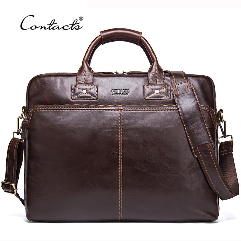 CONTACT'S 2020 Genuine Leather Men's Travel Bag Casual Shoulder Totes Men Briefcases Laptop Bag Large Capacity Messenger Bags