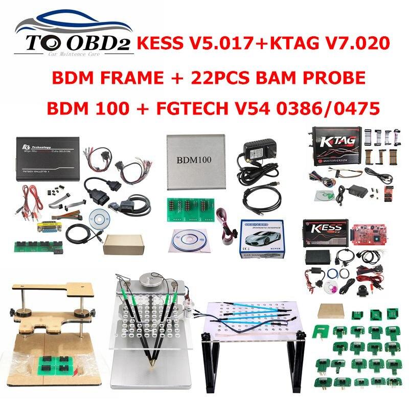 Full Set KTAG 7.020 KESS 5.017 2.53 Red LED BDM Frame ECU Chip Tuning Tool BDM100 K-TAG Master Online EU Version 22PCS BDM FRAME