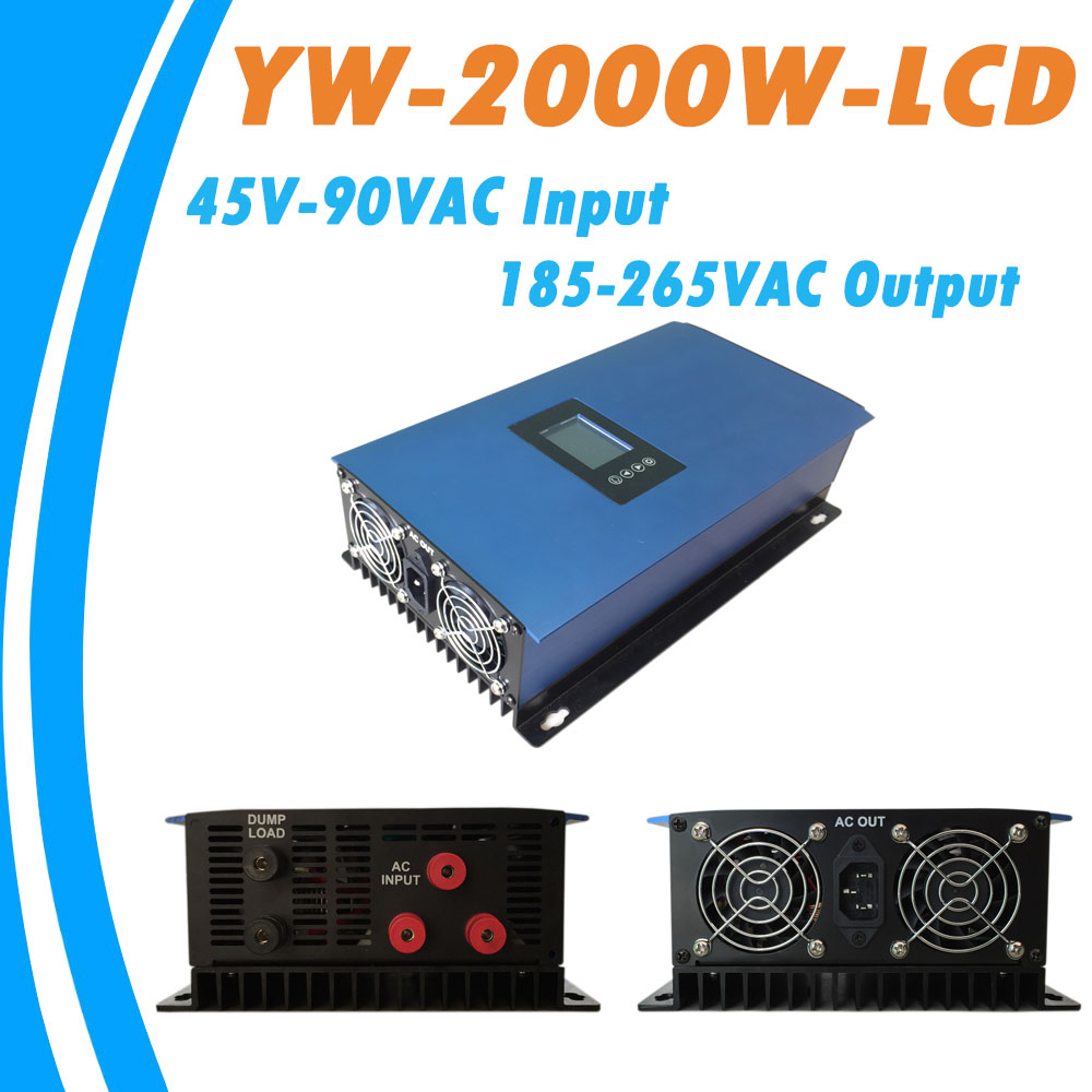 2000W Wind Pure Sine Wave MPPT Grid Tie Power Inverter for Wind Turbines AC45-90V Input to AC185V-265V Output Cooling Fans micro inverter 600w on grid tie windmill turbine 3 phase ac input 10 8 30v to ac output pure sine wave