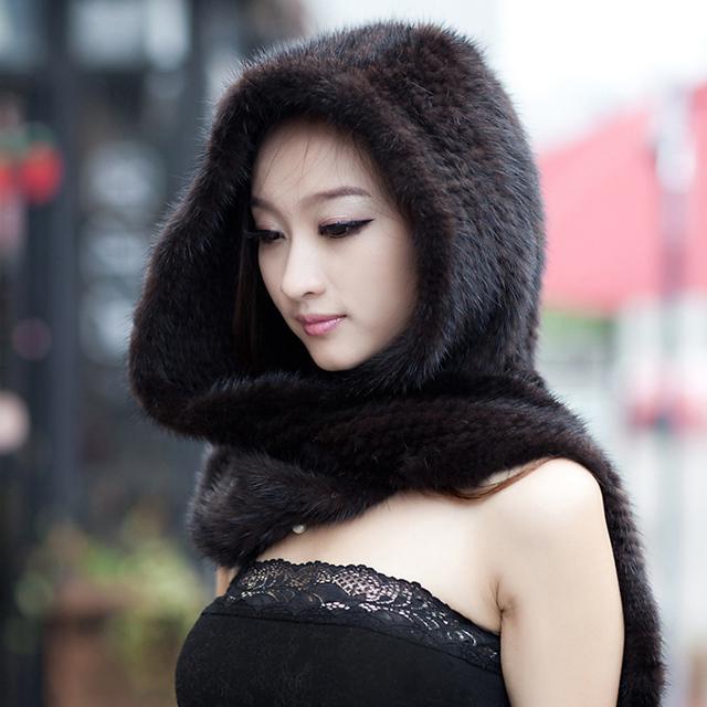 Chapéus E Lenços Para As Mulheres 2016 do Inverno da Pele de Pele De vison Tampas com Cachecol Feminino de Malha Natural Mink Fur Cachecóis Wraps Para Meninas