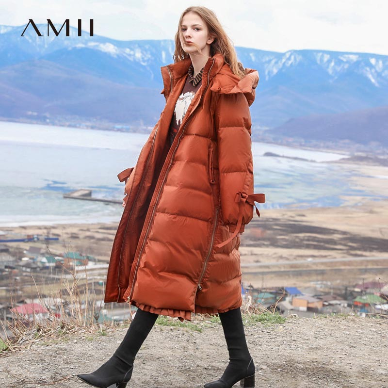 Amii Minimalist Hooded Down Jacket Women Winter Causal Solid Patchwork White Duck Down Light Female Long Parkas Coat 11840223