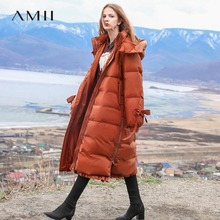 Amii Minimalist Hooded Down Jacket Women Winter Causal Solid Patchwork White Duc
