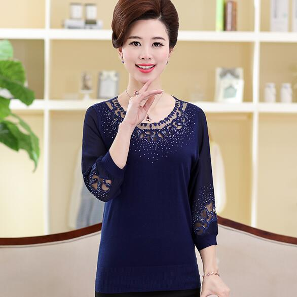 f2e654b3019b 2018 Spring and summer blouse fashion Chinese style pure silk shirt round  neck knit shirt women plus size blouses AF112-in Blouses   Shirts from  Women s ...