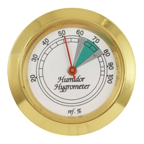 New 1pcs 43mm Round Glass Analog Hygrometer for Humidors Gold for Guitar Violin Cigar Tobacco Box