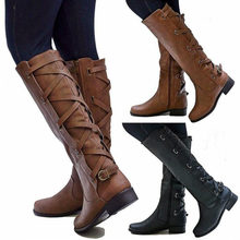 7db4f2c0abc169 Sapato feminino rijlaarzen vrouwen schoen lage hakken ronde neus meisjes  knie hoge martin booties kruis gebonden riemen zapatos .