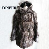 2019 Winter Warm Super Long Real Genuine Fox Fur Coat with Fur Hood Natural Fur Overcoat Plus Size Factory OEM TSR133