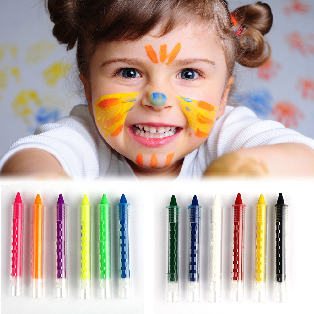 Crayons Painting Supplies Creative Non-toxic Rainbow Fluorescen Body Crayon Painting Pen Birthday Party Makeup Pigment Child Face Of Kids Coloring Washable Non-Ironing