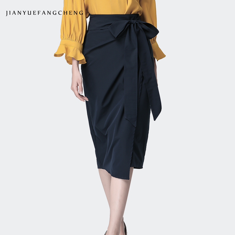 Women Summer Cotton Wrap Skirt Dark Blue High Waist Self Lace-up Elegant One Step Walk Office Ladies Pencil Skirt Plus Size
