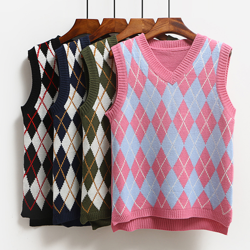 228153960f V-Neck Vintage Plaid Sweaters Vests For Women Autumn Winter Warm Veste Femme  Short Loose Sleeveless Knit Waistcoat Spring Coat