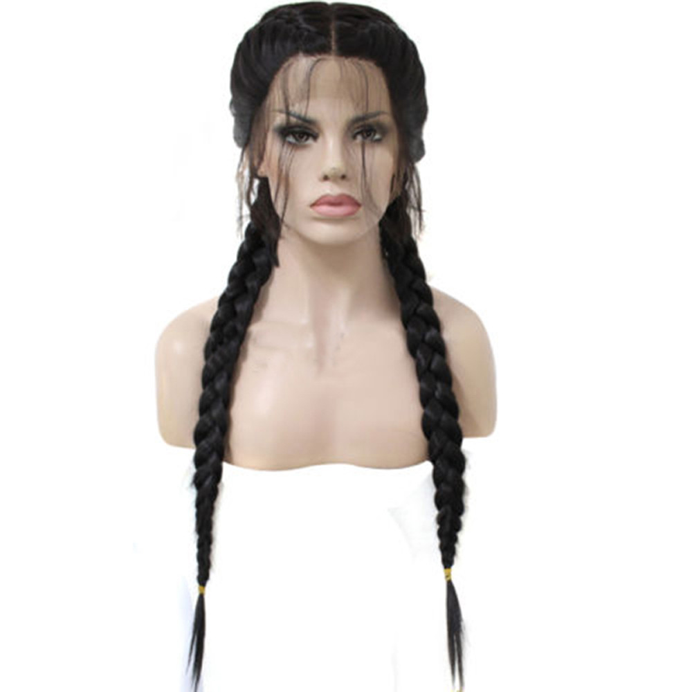 New Synthetic Baby Hair Braided Double Lace Front Wig Long Black Ombre Black Wigs 0718 charming long synthetic black ombre red straight women s lace front wig