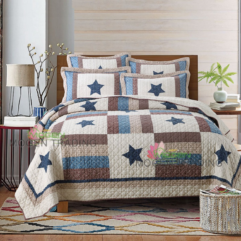 American pentagram handmade Patchwork Quilt 3PCS Set Washed cotton Bed Sheet quilted Bedspread Printing Pillowcase bedding