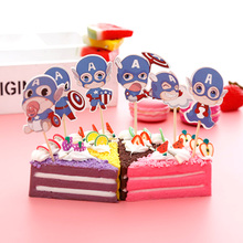 Events Decorate Captain America Theme Birthday Party Cupcake Toppers with Sticks Baby Shower Kids Favors Cake Topper 24pcs/lot