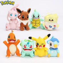 Pokemon Plush Pikachu Bulbasaur Charmander Piplup Squirtle Eevee Mew Stuffed Animals Small Pendant Pokemon Toys(China)