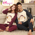 Couples pyjamas long-sleeved cotton men sleepwear large size spring and autumn clothing home cute cartoon plaid homewear pajamas