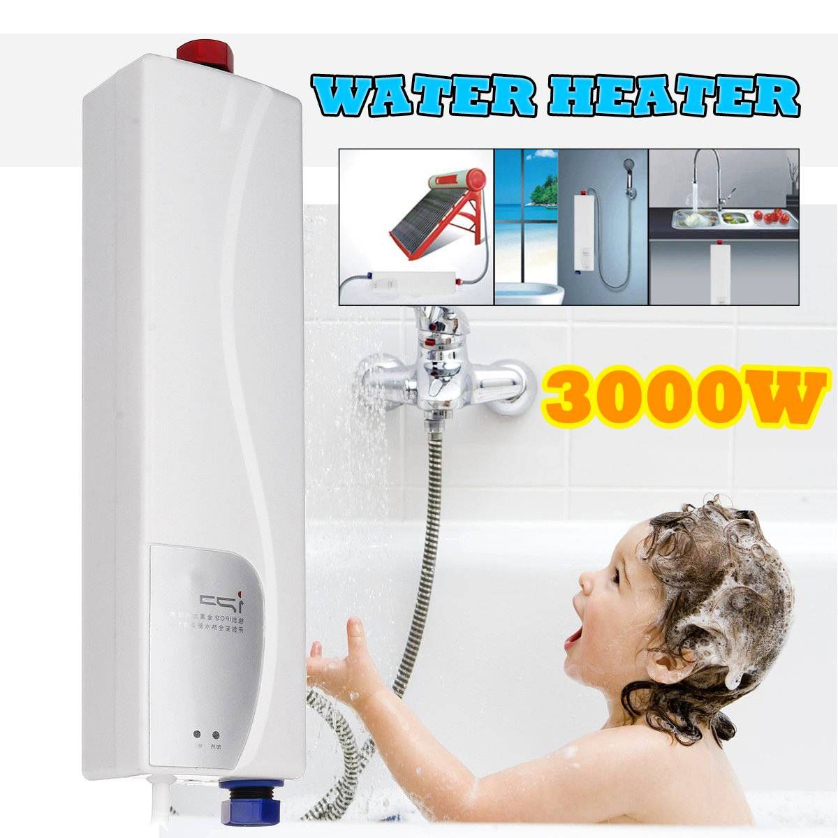 3000W Portable Mini Instant Electric Mini Tankless Water Heater Hot Instantaneous Water Heater System For Kitchen Bathroom