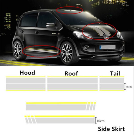 Gray Car styling Hood+Roof+Tail/Side Skirts decals stickers Car body decoration Vinyl Stickers for Volkswagen UP Polo Golf 7