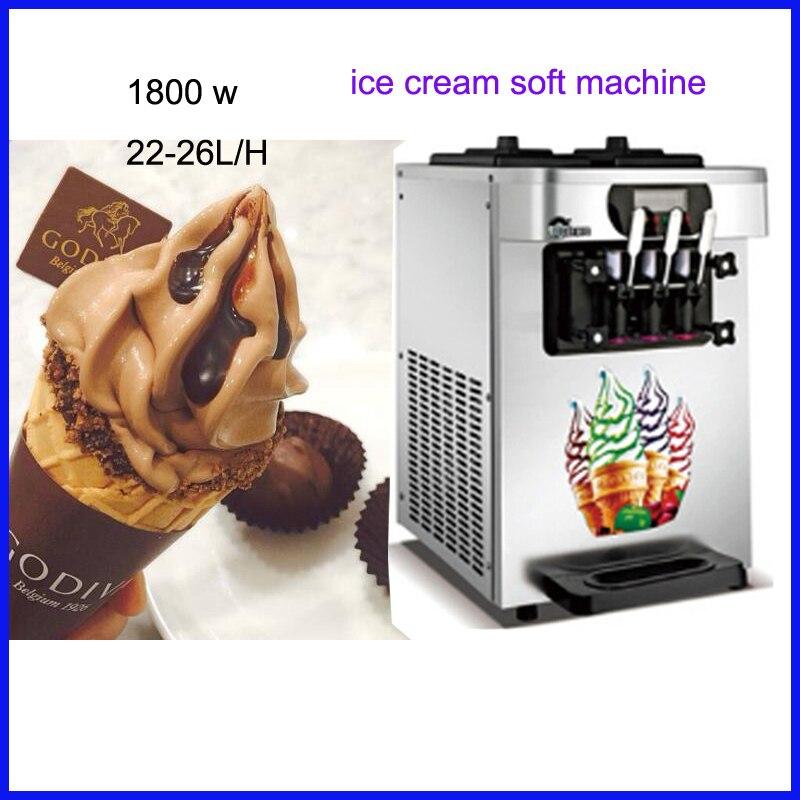 Commercial Desktop Ice Cream Machine Soft Serve Ice Cream Maker Three Heads 18 26L/H Hot Sale 220V specs