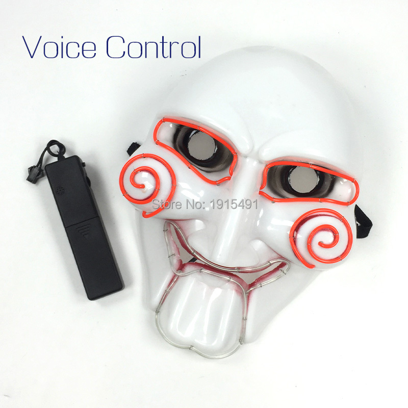 Brand Design Holiday Lighting Led Neon String Circle Dimple Evil Face Movie Theme EL Cold Light Terrified Saw Mask with Drive