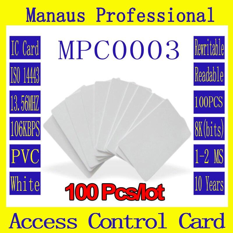 bilder für Hochfrequenz 100 STÜCKE RFID Tag 13,56 MHZ Kontaktlose Karten Heißer Verkauf Weiß PVC Zugangskontrolle Eintrittskarte Großhandel C3b