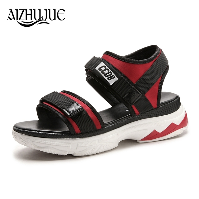 26c1d6398 AIZHUJUE outdoor sandals 2018 women s shoes black red wedges slippers thick  soles thick open toe platform shoes female sandals