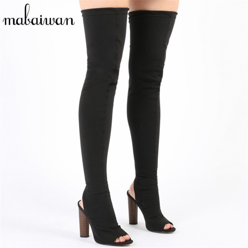 2017 fashion black stretch the knee boots