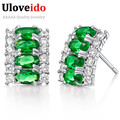 Cubic Zirconia Jewelry Green Crystal Earrings for Women 925 Sterling Silver Pink Blue Bijoux Brincos Red Earring Uloveido R784