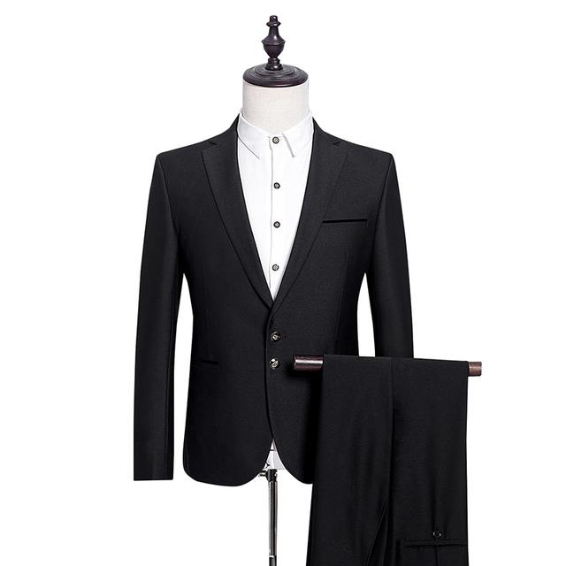 2016 recién llegado de la Famosa marca de Alta calidad de Poliéster y viscosa casual de Negocios hombres trajes de color negro, más tamaño S A 3XL