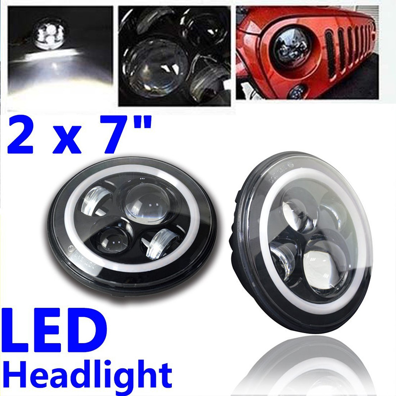 07-15 wrangler led headlights Bulb with Halo Angel eye ring DRL and Amber turn light for Jeep JK LandRover Hummer 7 inches led starry headlights with devil demon eye and led angel for jeep wrangler jk 2 pcs