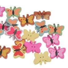 100Pcs Mixed Colors Butterfly Papillon Animal Wood Sewing Buttons 2 Holes Wooden Scrapbook Findings 22x17mm