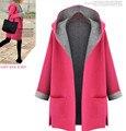 Invierno de las mujeres capa de la chaqueta 2016 Nueva moda de talla grande flojo ocasional chaquetas sudaderas con capucha de lana delgada abrigos